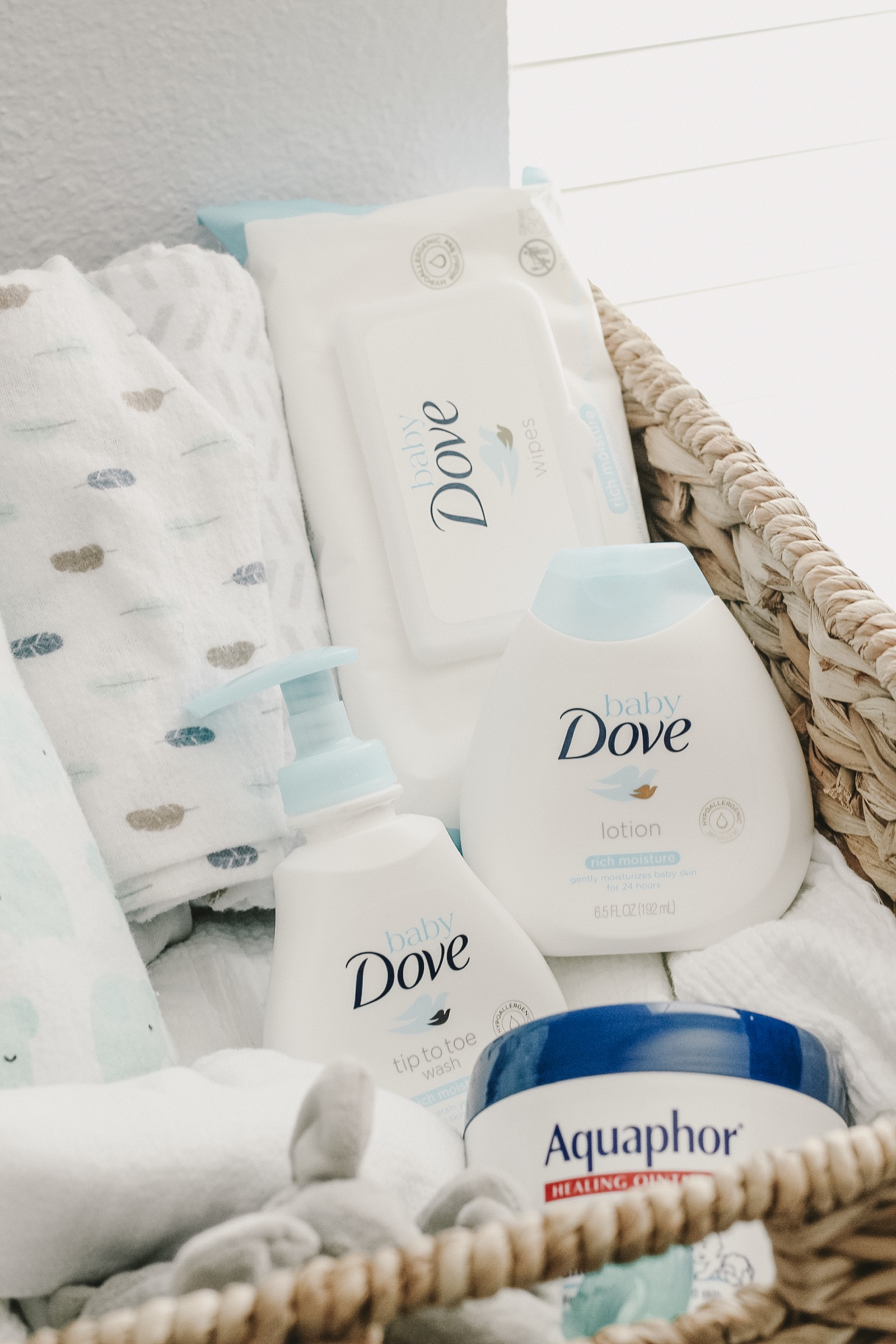 Baby Dove and Aquaphor, baby essentials