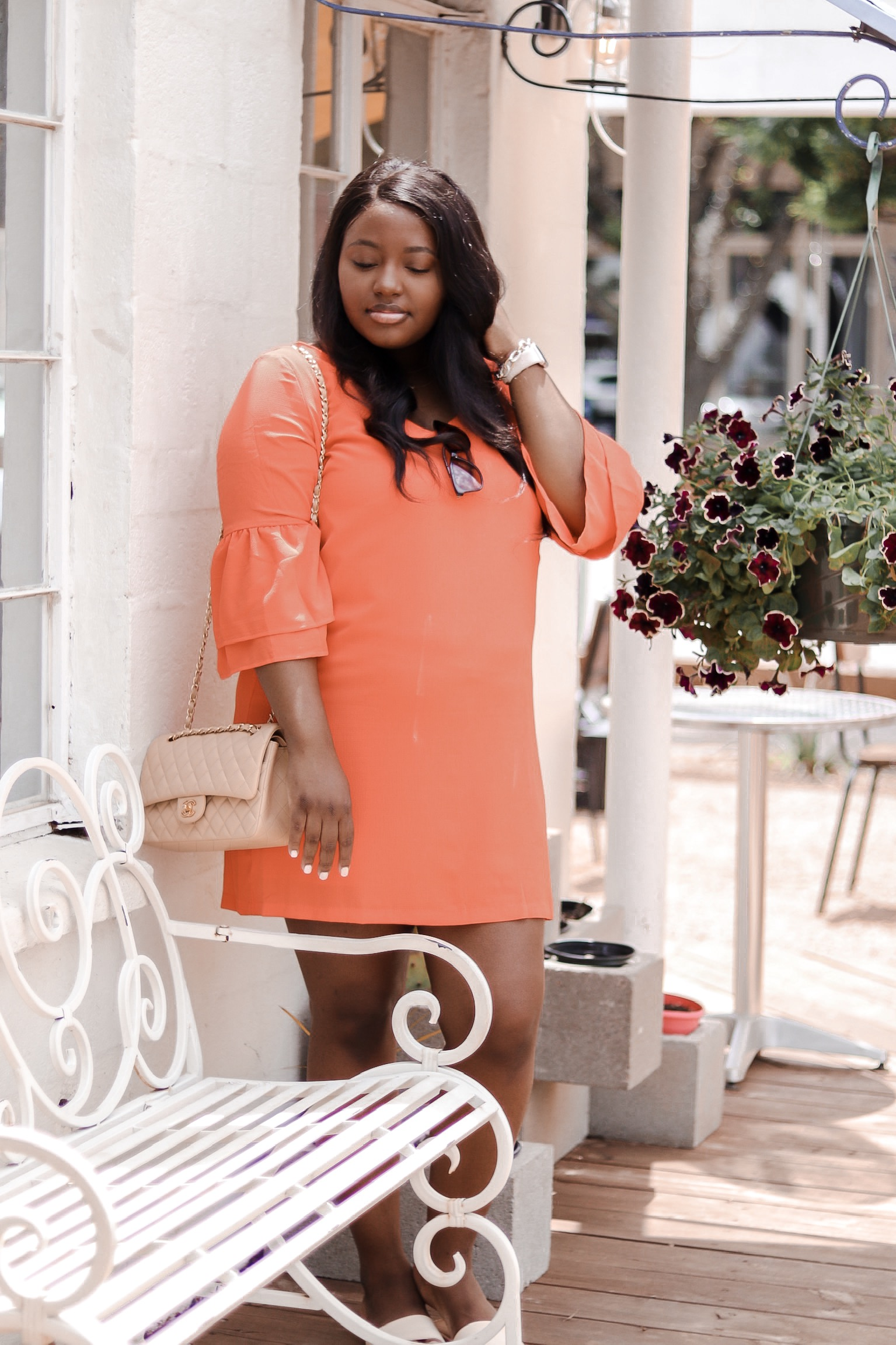 Orange bell sleeve dress from amazon