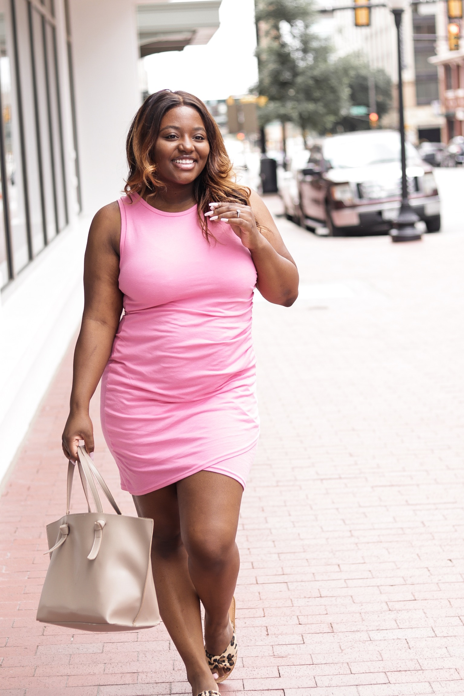 Pink Body-con Dress + Leopard Sandals