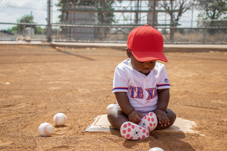 Baby boy in Texas Rangers Jersey