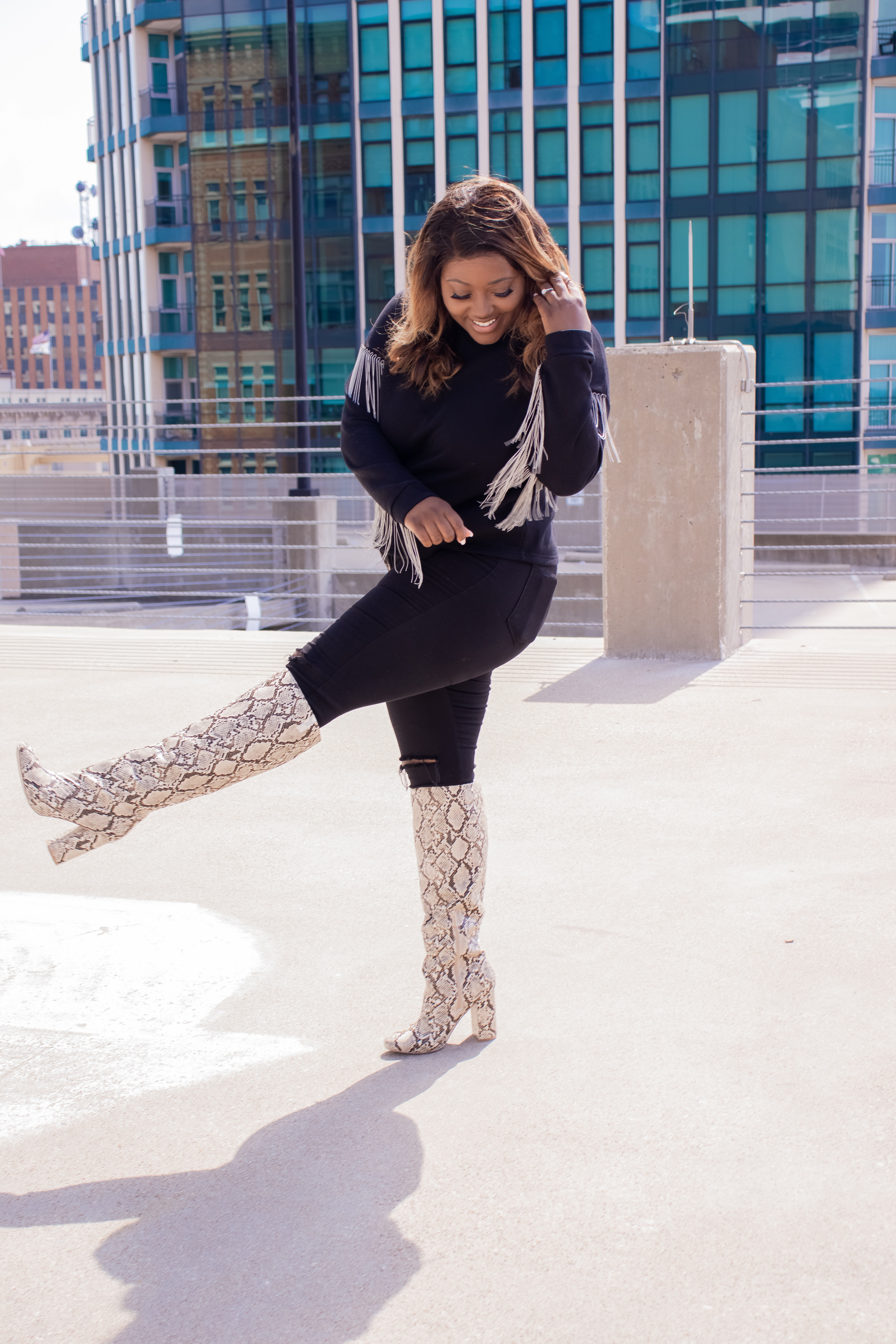 High Knee Snake boots from Shoedazzle