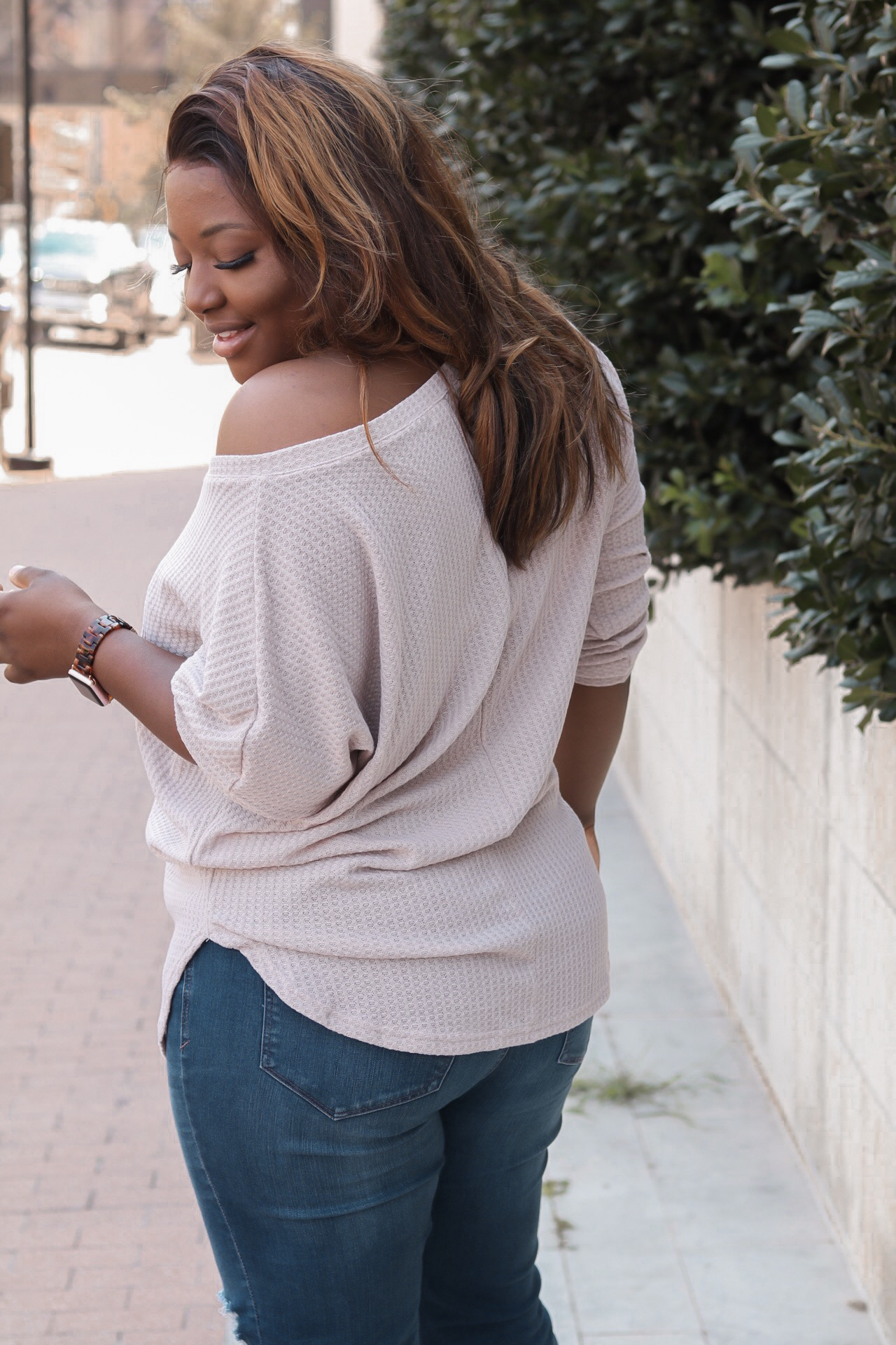 Off the shoulder oatmeal sweater