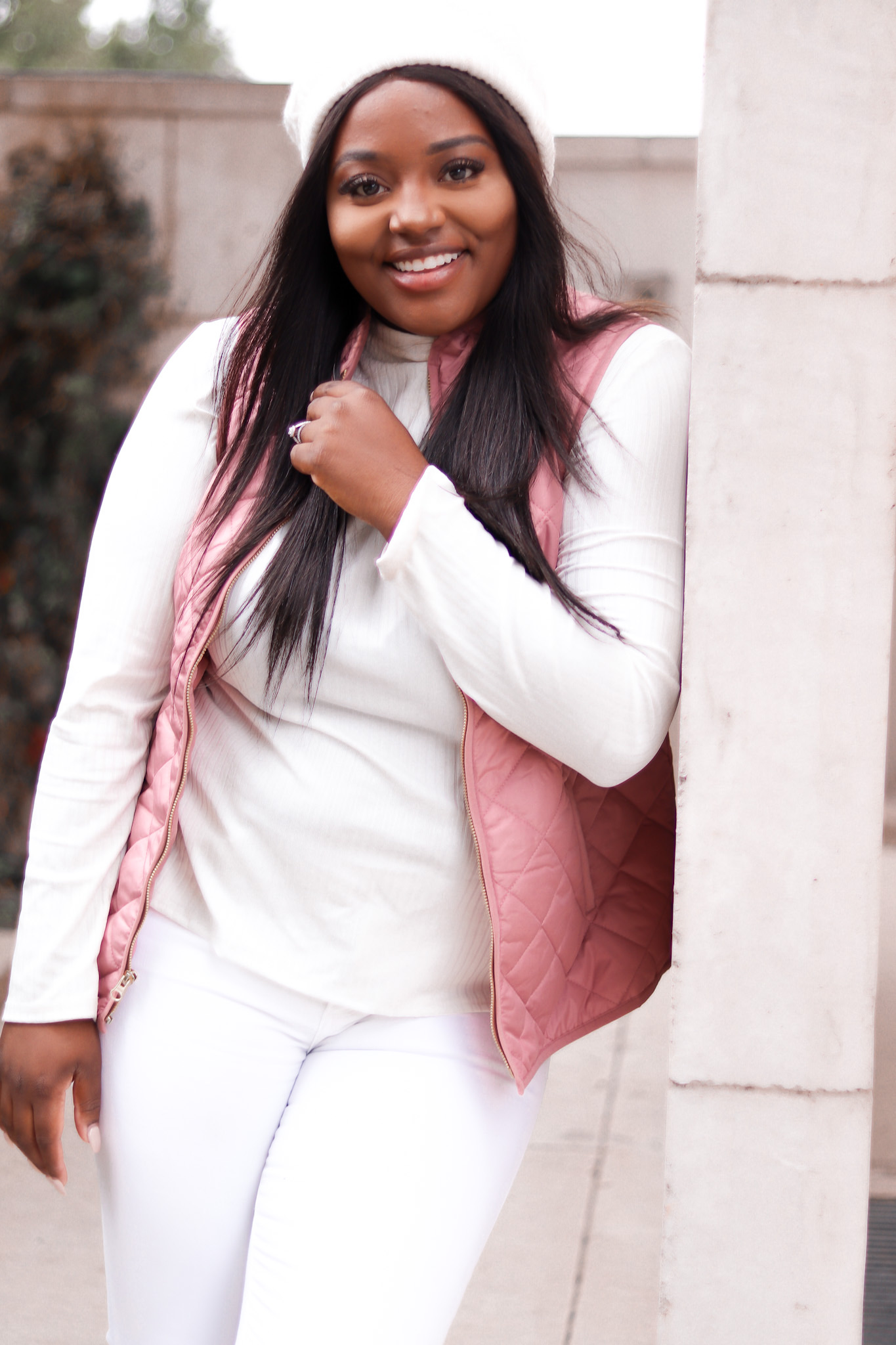 Pink vest and all white