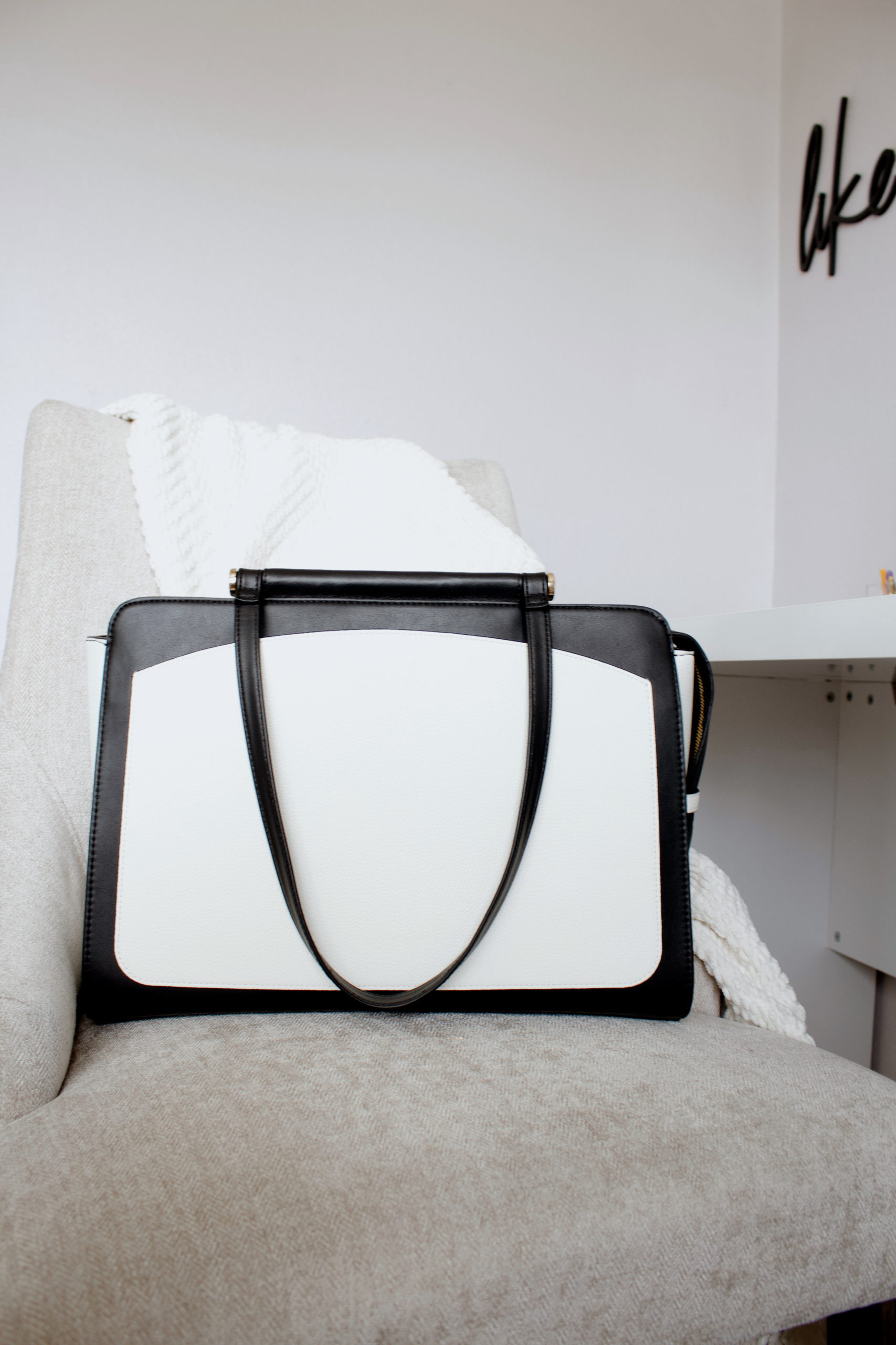 black and white structured work bag