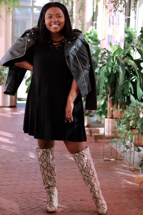 Black dress and Biker Jacket and Snake boots