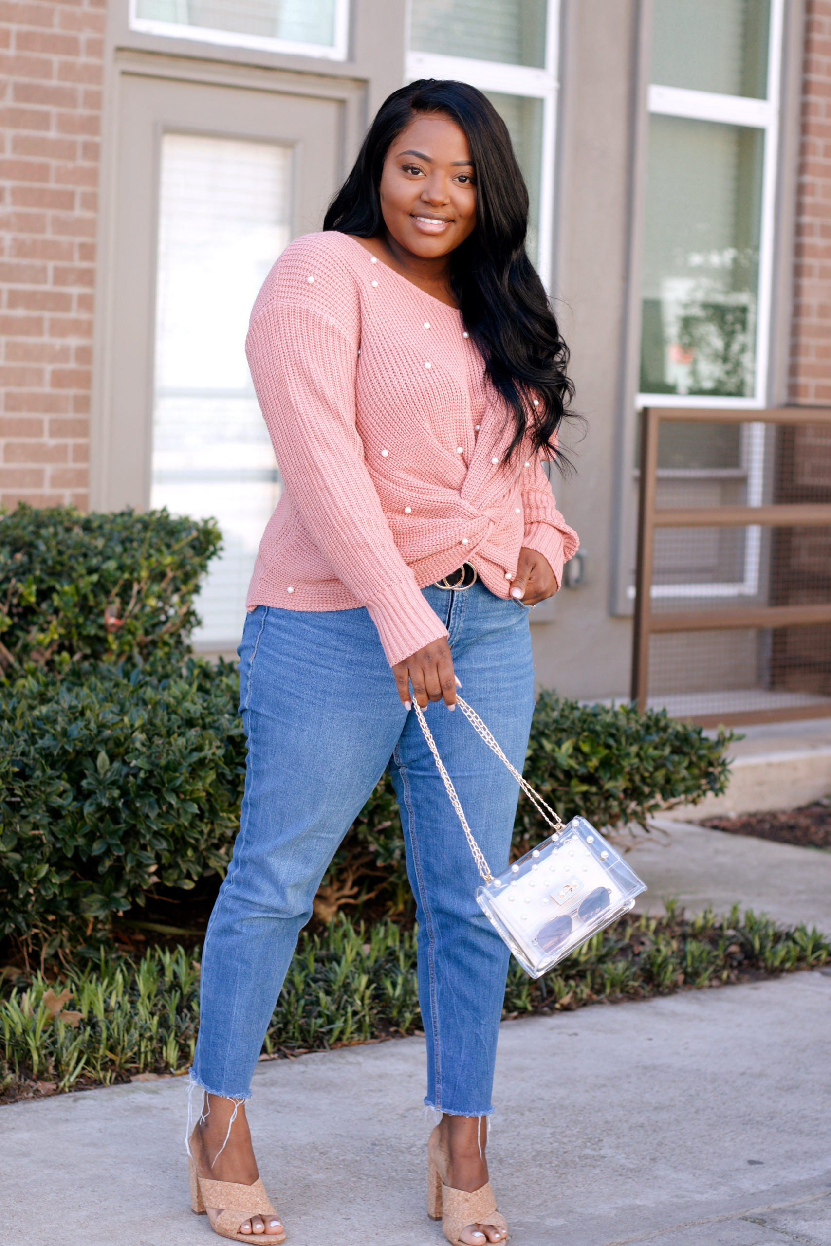 soft pink cross sweater with pearls, spring look