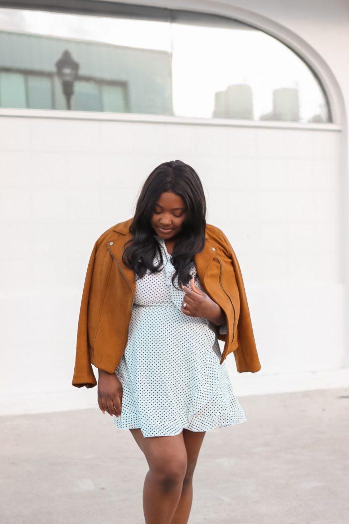 Fall Outfit |Polka Dot Dress + Moto Jacket