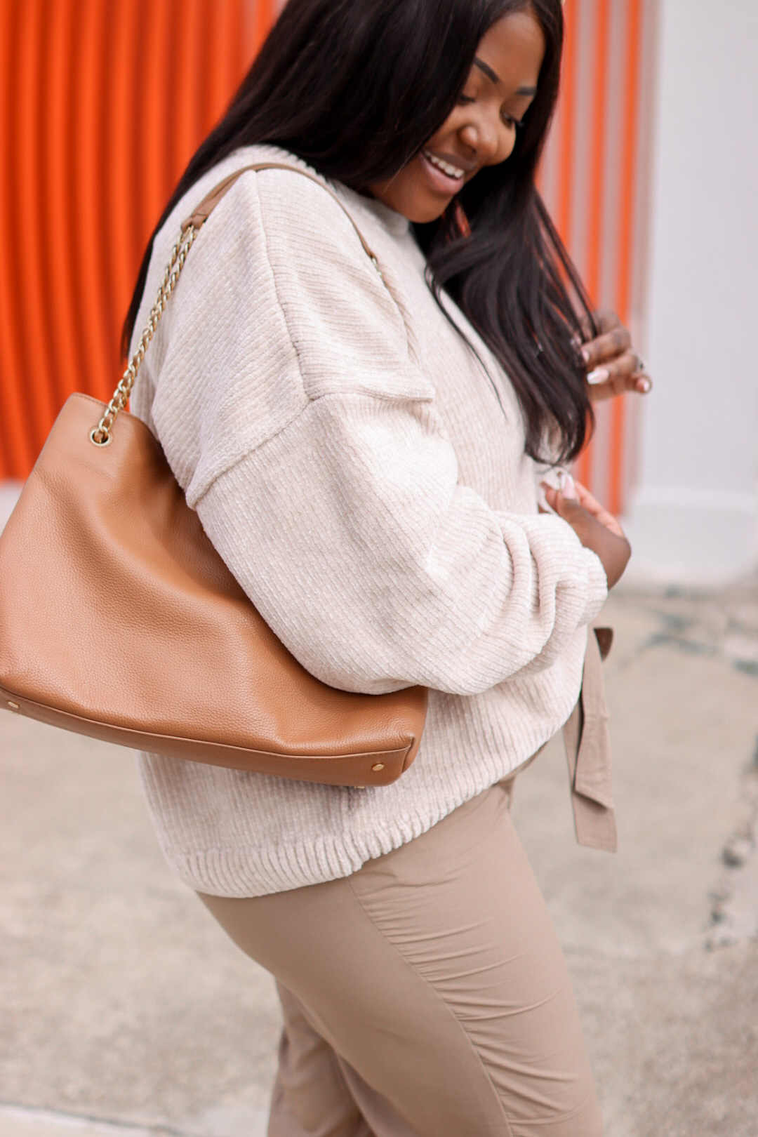 Brown Paper Bag Pants with brown sweater